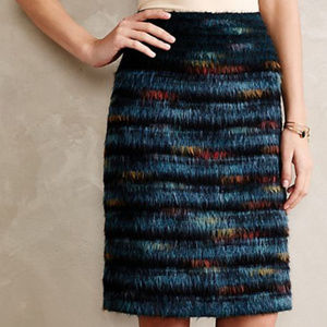 Maeve Anthropologie Feathered Wool Skirt Size 6